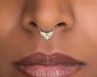16g Tiny Tribal Septum Ring For Pierced Nose. Tribal, Ethnic Design.