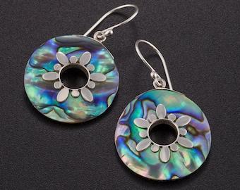 Natural paua shell earrings. Abalone earrings. Paua earrings. Abalone silver earrings. Abalone jewelry. Ocean earrings.