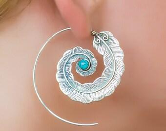 Silver feather earrings. bohemain earrings. boho jewelry. large earrings. native american earrings. turquoise earrings. boho chic. tribal.