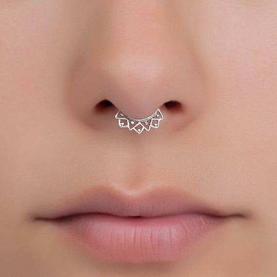 Fake Silver Septum Ring Tiny Fake Septum Jewelry Septum Etsy