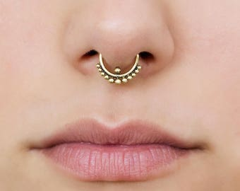 Tiny septum ring for pierced nose. 18g septum ring. Indian septum ring. brass septum jewelry. gold septum ring. tribal septum ring.