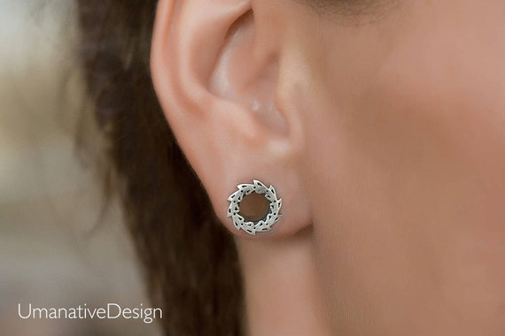 Lotus Flower Ear Gauges 0g Gauge Earrings Tunnels 0 Gauge Plugs Flower Gauges Sterling Silver Tunnels 8mm Gauges Plugs