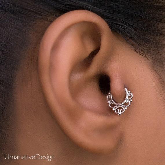 Tragus Piercing Silver Cartilage Hoop Helix Earring Daith Piercing Cartilage Jewelry Tragus Earring Cartilage Earring Helix Hoop