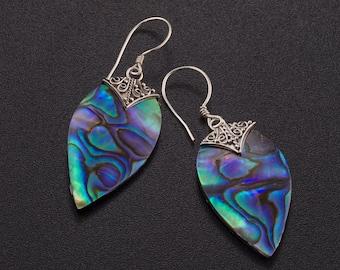 Abalone drop earrings. abalone shell. blue silver earrings. dangle silver earrings. shell jewelry. paua Shell .dangle abalone earrings.