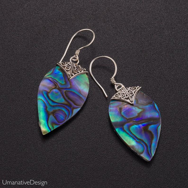 24feb5a65 Abalone Drop Earrings Abalone Shell Dangle Silver Earrings   Etsy