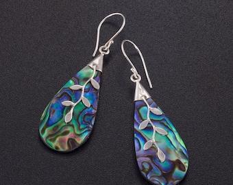 Abalone earrings. paua earrings. abalone silver earrings. blue earrings. boho earrings. dangle earrings silver. abalone jewelry.