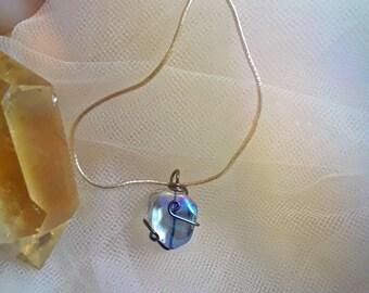 Wire wrapped angel aura quartz crystal pendant