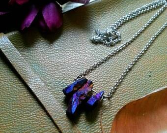 Titanium aura quartz crystal trio necklace
