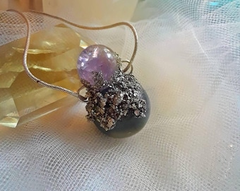 Amethyst orb and moss agate crystal ball pendant, unique amethyst necklace, amethyst and moss agate