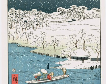 Japanese Ukiyo-e Woodblock print, Utagawa Hiroshige2, Twilight Snow at Hashiba