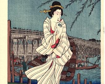 "Japanese Ukiyoe, Woodblock print, Hiroshige, ""Ryogoku yu-suzumi"""