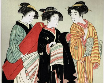 "Japanese Ukiyo-e Woodblock print, Kitao Shigemasa, ""Geisha And Attendants"""