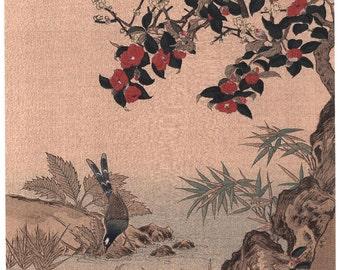 "1923, Japanese vintage Woodblock print, Wang Jeshui, ""Crimson Camellias"""