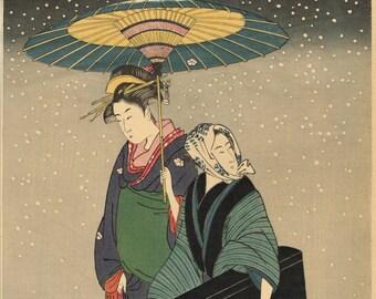 """Japanese Ukiyoe, Woodblock print, antique, Kitagawa Utamaro,  """"Geisha Walking through the Snow at Night"""""""