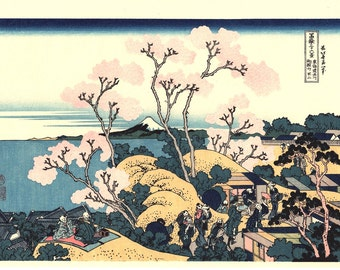"""Japanese Ukiyo-e Woodblock print, Katsushika Hokusai, """"Goten-yama-hill, Shinagawa on the Tōkaidō, Thirty-six Views of Mount Fuji"""""""