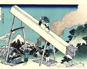 "Japanese Ukiyo-e Woodblock print, Katsushika Hokusai, ""Mount Fuji from the mountains of Tōtōmi, Thirty-six Views of Mount Fuji"""