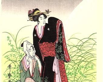 """Japanese Ukiyoe, Woodblock print, antique, Utamaro,  """"Musashino"""""""