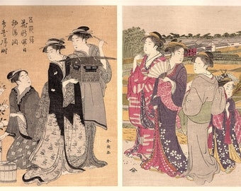 1906, Japanese antique woodblock print, Katsukawa Shuncho, from Ukiyoe-ha-gashu.