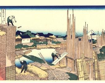"Japanese Ukiyo-e Woodblock print, Katsushika Hokusai, ""Honjo Tatekawa, from the series Thirty-six Views of Mount Fuji"""