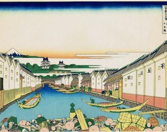 "Japanese Ukiyo-e Woodblock print, Katsushika Hokusai, ""Nihonbashi bridge in Edo, from the series Thirty-six Views of Mount Fuji"""