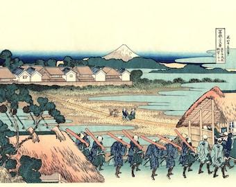 "Japanese Ukiyo-e Woodblock print, Katsushika Hokusai, ""Pleasure District at Senju, Thirty-six Views of Mount Fuji"""