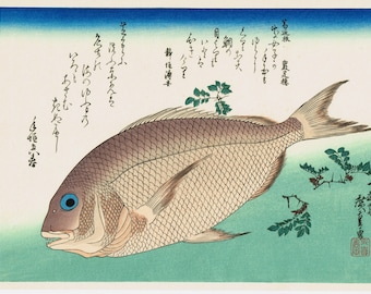 "Japanese Ukiyoe, Woodblock print, antique, Hiroshige, ""Sea Bream & Japanese Pepper"""