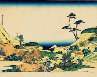 "Japanese Ukiyo-e Woodblock print, Katsushika Hokusai, ""Below Meguro, from the series Thirty-six Views of Mount Fuji"""
