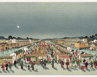 "Japanese Ukiyo-e Woodblock print, Utagawa Toyoharu, ""Shijo Kawaramachi"""
