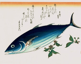 "Japanese Ukiyoe, Woodblock print, antique, Hiroshige, ""Skipjack & Cherries"""