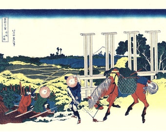 "Japanese Ukiyo-e Woodblock print, Katsushika Hokusai, ""Senju, Musashi Province, Thirty-six Views of Mount Fuji"""