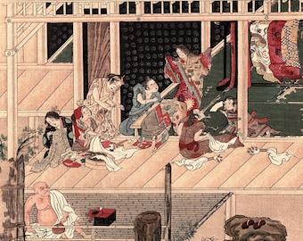 "1923, Japanese vintage Woodblock print, Tosa Mitsuoki ""A Dyer"""