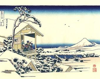 "Japanese Ukiyo-e Woodblock print, Katsushika Hokusai, ""Tea house at Koishikawa, from the series Thirty-six Views of Mount Fuji"""