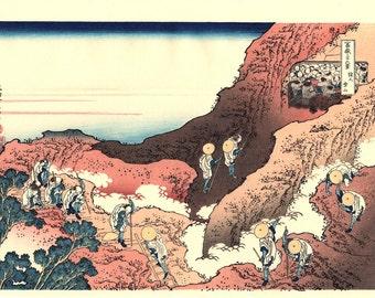 "Japanese Ukiyo-e Woodblock print, Katsushika Hokusai, ""Climbing on Fuji, Thirty-six Views of Mount Fuji"""