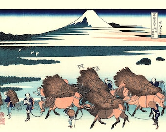 "Japanese Ukiyo-e Woodblock print, Katsushika Hokusai, ""Ōno Shinden in the Suruga Province, Thirty-six Views of Mount Fuji"""