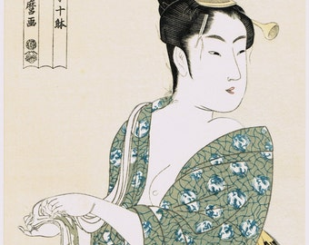"Japanese Ukiyo-e Woodblock print, Utamaro, ""The Hedonist"""