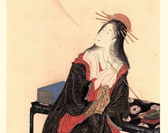1906, Japanese antique woodblock print, Utagawa Toyohiro, from Ukiyoe-ha-gashu.