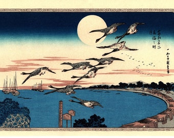 "Japanese Ukiyoe, Woodblock print, antique, Hiroshige, ""Full Moon over Takanawa"""