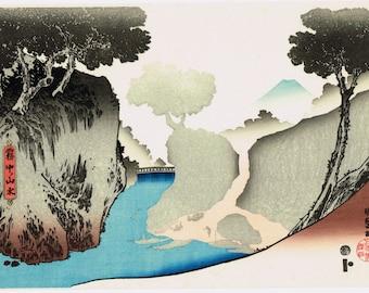 "Japanese Ukiyo-e Woodblock print, Utagawa Kunisada, ""Landscape in Fog"""