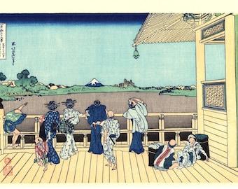 "Japanese Ukiyo-e Woodblock print, Katsushika Hokusai, ""Sazai hall - Temple of Five Hundred Rakan, Thirty-six Views of Mount Fuji"""