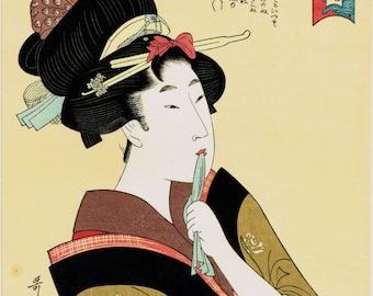 """Japanese Ukiyo-e Woodblock print, Utamaro, """"A chatterbox"""""""