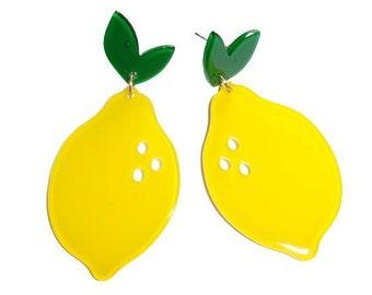 Huge LEMONS Retro EARRINGS, Fun ACRYLIC Large Lemon Fruit Dangle Earrings, Avant Garde Unusual Fruity Club Tropicana Kitsch Jewellery!!
