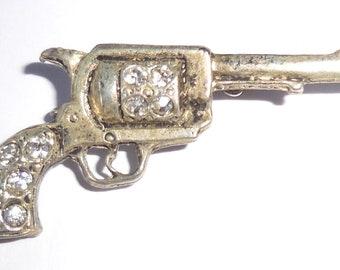 0d94251cb88 Fabulous REVOLVER Vintage GUN BROOCH, Rhinestone Jewellery Revolver Pistol  Brooch, Unusual Quirky Gun Cowboy Weapon Jewellery, Signed!
