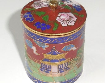 80mm Collectible Handmade Copper Brass Cloisonne Enamel Makeup Boxes China Antiques