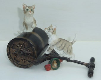 Delightful TABBY CATS Figurine By LEONARDO, Two Cats On a Garden Lawn Roller With Hidden Mouse Ornament, Crazy Cat Lady Home Decor