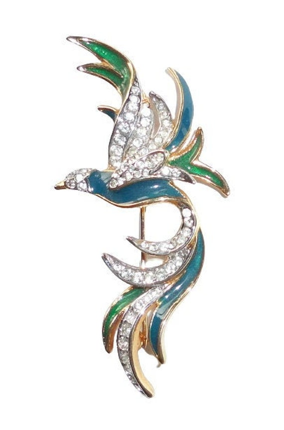 Clear Glass Stones Perched on Branch Bird Jewelry Blue and Green Gold Tone Metals Enamel Toucan Brooch Modern Vintage 1990s Jewelry