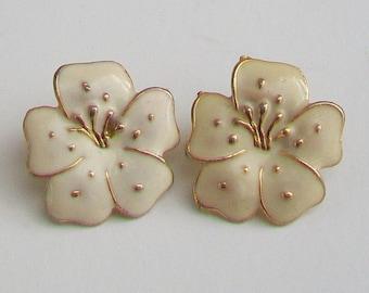 Cream Enamel in Gold Tone Flower Petal Earrings