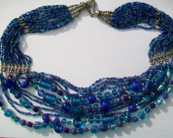 Blue Glass Bead Multi-Strand Statement  Necklace
