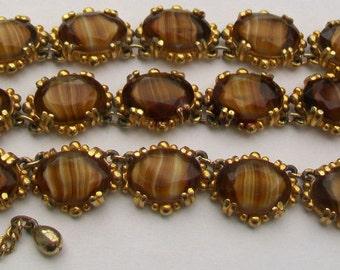 Mid-Century Prong Set Art Glass Cabochon Stones Panel Necklace