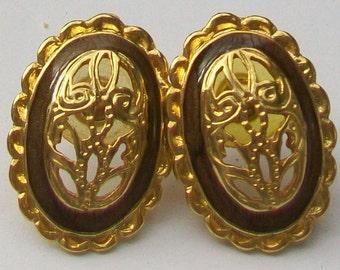 Ornate Vintage Gold Tone & Enamel Earrings