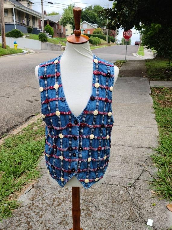 Vintage Plaid, Denim, and Buttons Vest